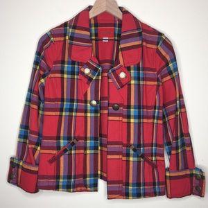 Caslon  | Red Tartan Plaid Jean Style Jacket Sz M